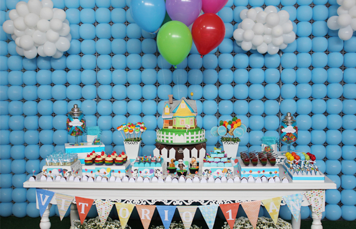 Disney - Up inspired dessert table.  Balloon Backdrop