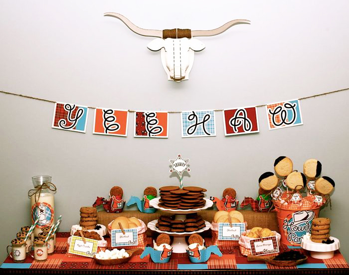 Cowboys and cookies birthday party dessert table overall Cowboys and Cookies Guest Dessert Feature