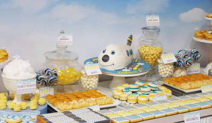 Little Biridie Events Colourful Patterned Aeroplane Dessert Table 02 Airplane Guest Dessert Feature