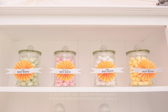 Apothecary Jars with Peach Candy Pretty Peach & Green Circus Guest Dessert Feature