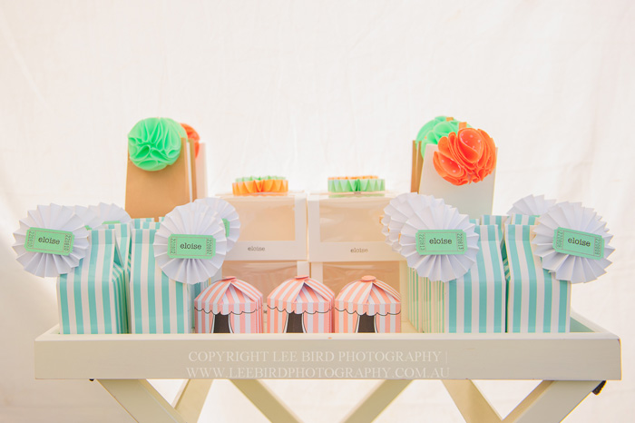 Circus Themed Favor Boxes Pretty Peach & Green Circus Guest Dessert Feature