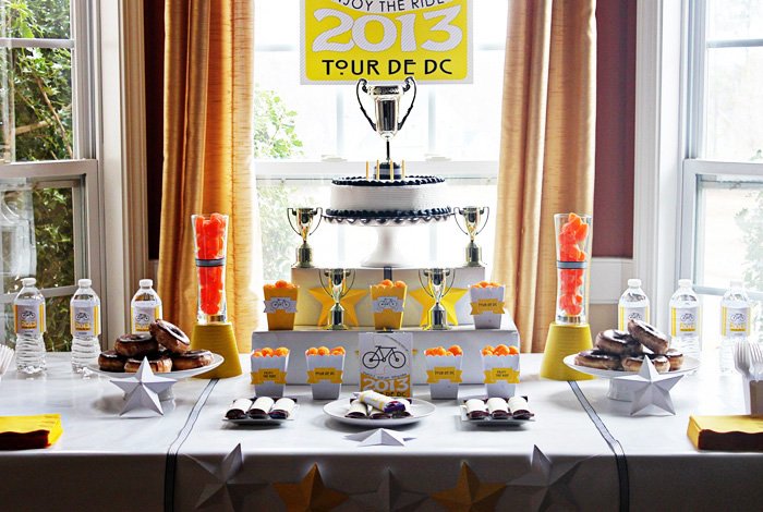 Tour De France Dessert Table1 Bike Racing Birthday Party Guest Dessert Feature
