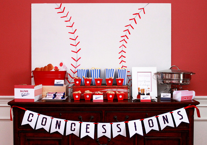 Baseball Party Concessions Stand Baseball Party Guest Dessert Feature