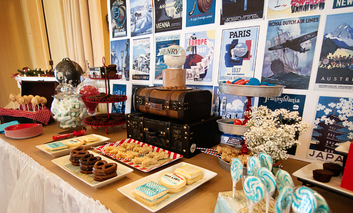 Travel Themed Dessert Table For Boys1 Travel Inspired Guest Dessert Feature