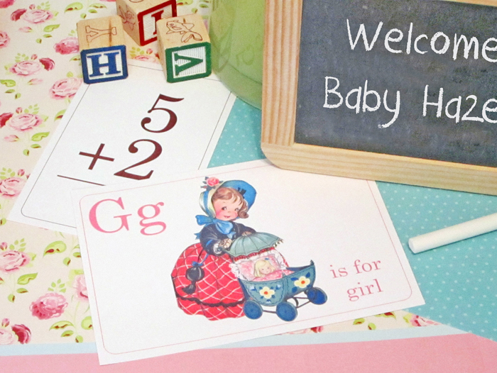 g is for girl flash card centerpieces