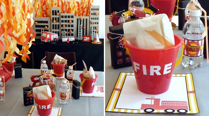 Fireman Party table decor Five Alarm Guest Dessert Feature {& Tissue Fire Backdrop Tutorial}