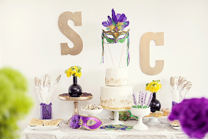 Mardi Gras Inspired Bridal Shower Mardi Gras Bridal Shower Guest Dessert Feature