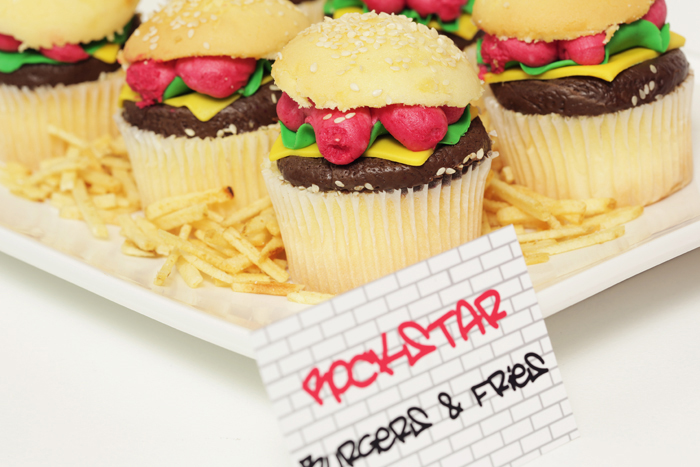 burger cupcakes Party Like a Rockstar Guest Dessert Feature