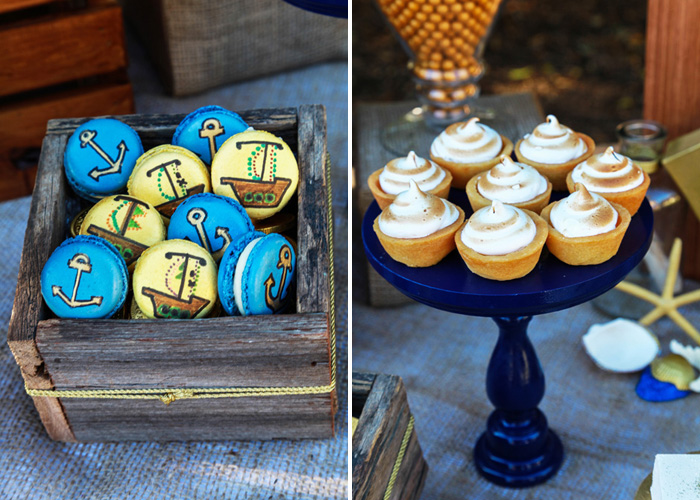 Pirate Party for Kids | Anchor Macarons and Smore's Cupcakes