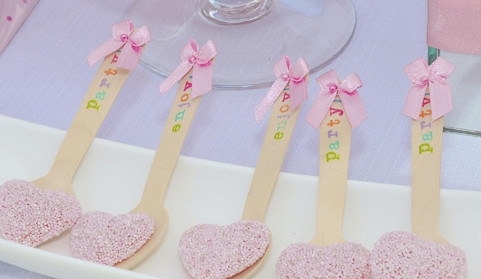Pink Heart Spoons Unicorns & Rainbows Guest Dessert Feature