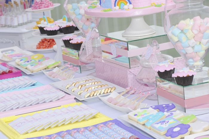 Unicorn Party Dessert Table Unicorns & Rainbows Guest Dessert Feature