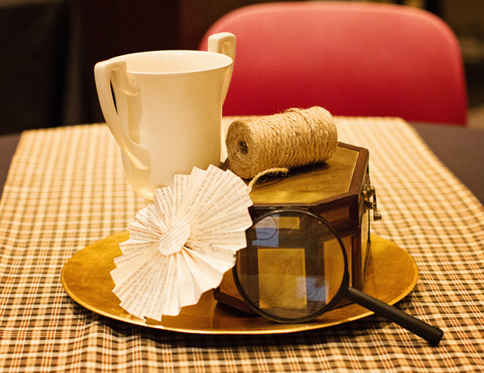 table setting Sherlock Holmes Guest Dessert Feature