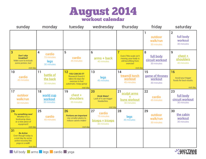 August Workout Calendar Simple Summer Fitness Plan - gym workout for weight loss
