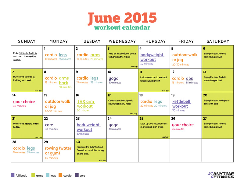 June 2015 Workout Calendar
