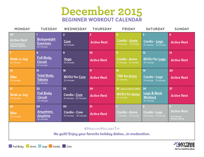 December 2015 Beginner Workout Calendar