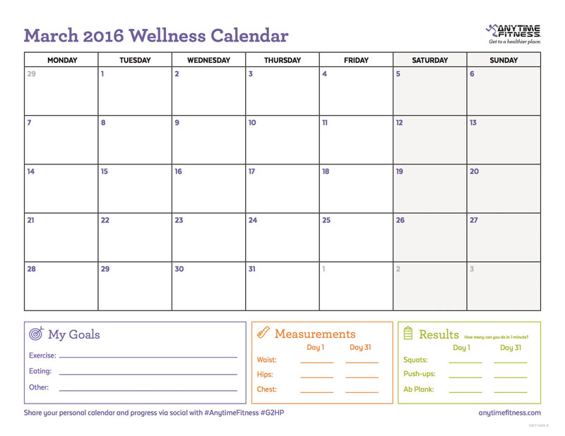 Get Better Results by Filling Out a March Fitness Calendar