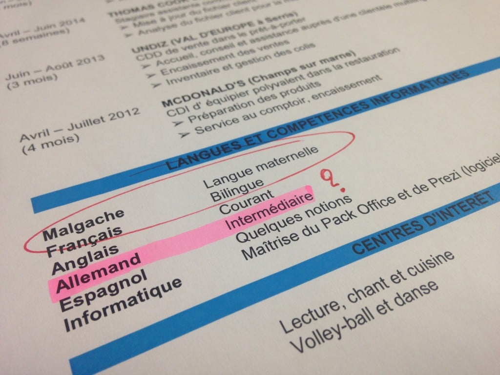 cv langues etrangeres comment qualifier son niveau