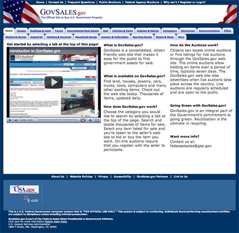 Screenshot of GovSales.gov