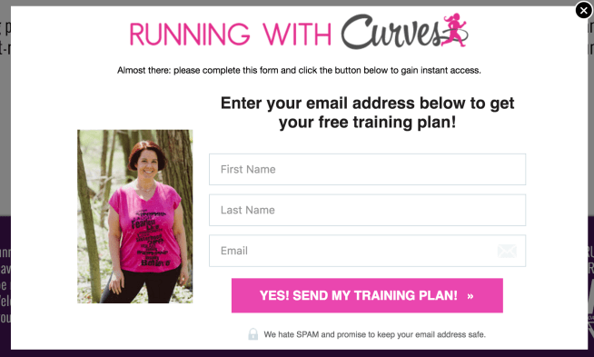 Not Your Average Runner Sign Up Form CTA