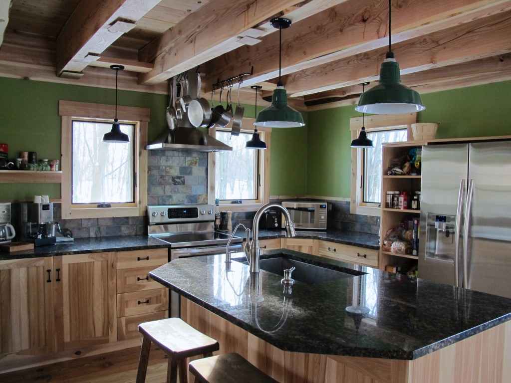 Industrial Rustic Kitchen Design Porcelain Enamel Lighting Gives New Green Home A Rustic