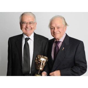 Brian Cosgrove (left) was presented with the Special Award at the British Academy Children's Awards by long-standing friend and colleague David Jason.