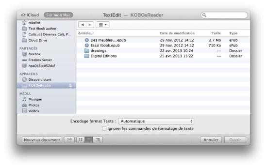 """Le Finder du Mac ne vous montre pas les fichiers et répertoires """"cachés"""" du kobo"""