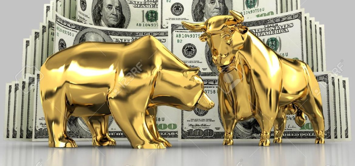 19726544-the-image-of-the-bull-and-the-bear-made-of-gold-against-the-stock-photo