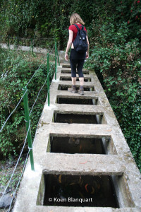 The levada is sometimes conducted over a river or another levada with an ingenious system of bridges