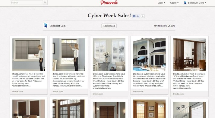 Blinds.com's Cyber Week Sales Board on Pinterest