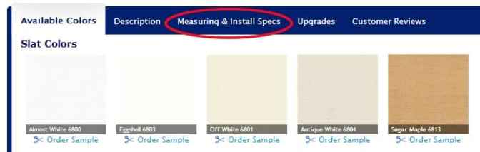 Measuring and Install Specs Tab