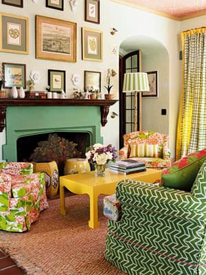 Green yellow and pink living room