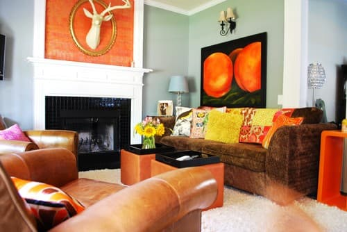 orange & black living room