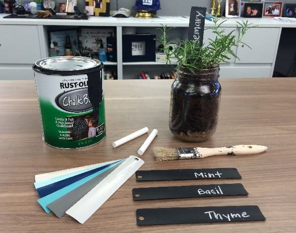 Chalkboard garden marker from blinds slat supplies