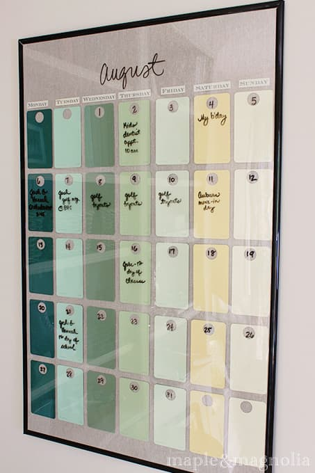 Paint chip calendar for the dorm room