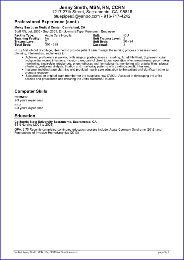 Sample Travel Nursing Resume - Free Template » BluePipes Blog