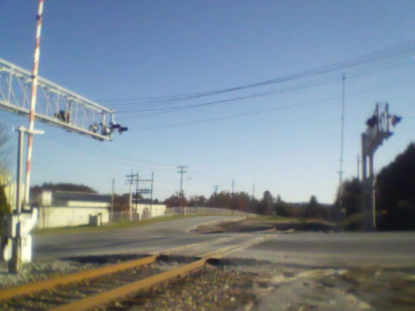 Crossing road on RR tracks next to Berkely Mills/Kimberly-Clark.
