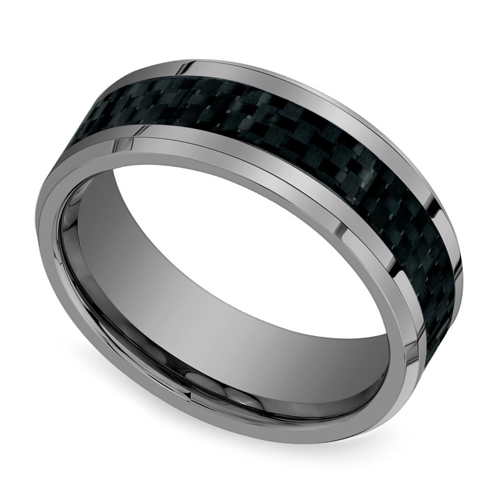 hot or not mens tungsten wedding rings wedding ring mens pasted image 1 Beveled Carbon Fiber Inlay Men s Wedding Ring