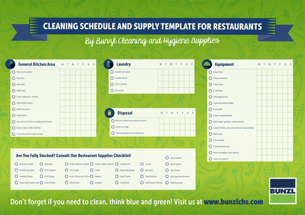 DOWNLOAD Cleaning Schedule And Supply Template For Restaurants