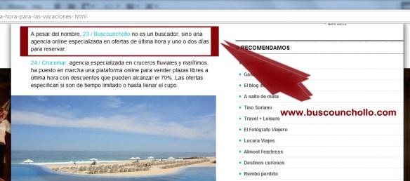 Referencia de Busco Un Chollo.com en el Blog El Viajero Astuto de El País