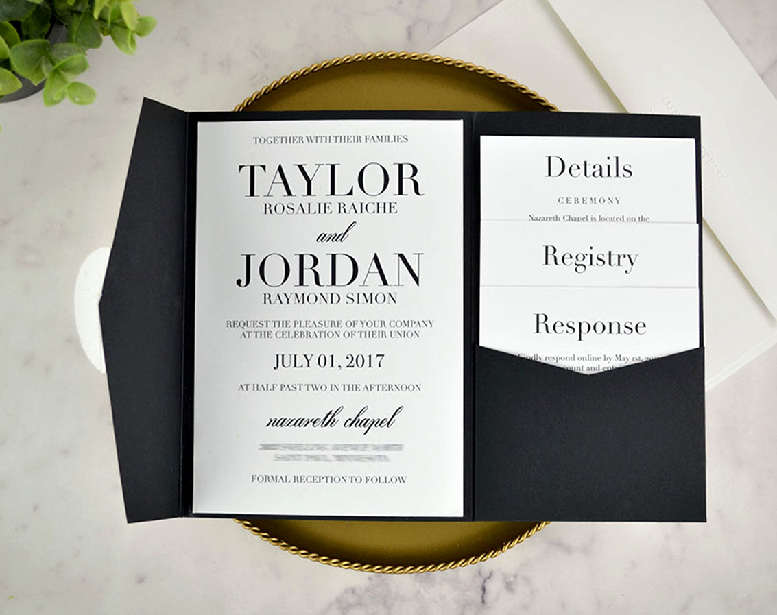 Diy Wedding Invitations With Photo Real Diy Wedding Invitation Classic Black White Pocket Cards
