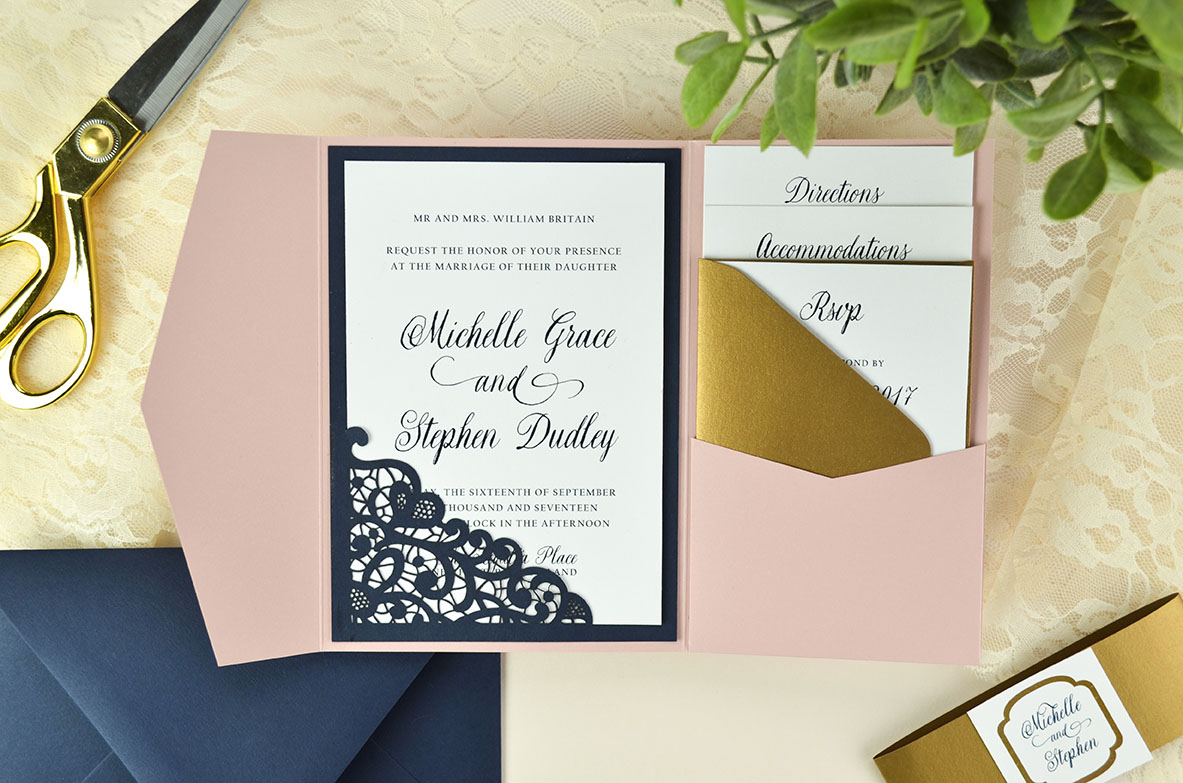 Diy Wedding Invitations With Photo Lace Laser Cut Wedding Invitation Cards Pockets Design Idea Blog