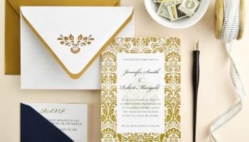How to diy pocket invitations the easy way cards pockets design elegant navy gold damask wedding invitation filmwisefo Choice Image