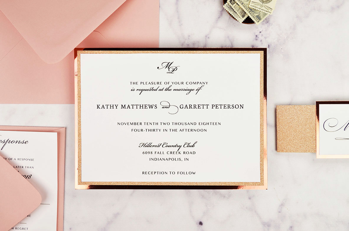 Diy Wedding Invitations With Photo Diy Rose Gold Wedding Invitations Cards Pockets Design Idea Blog