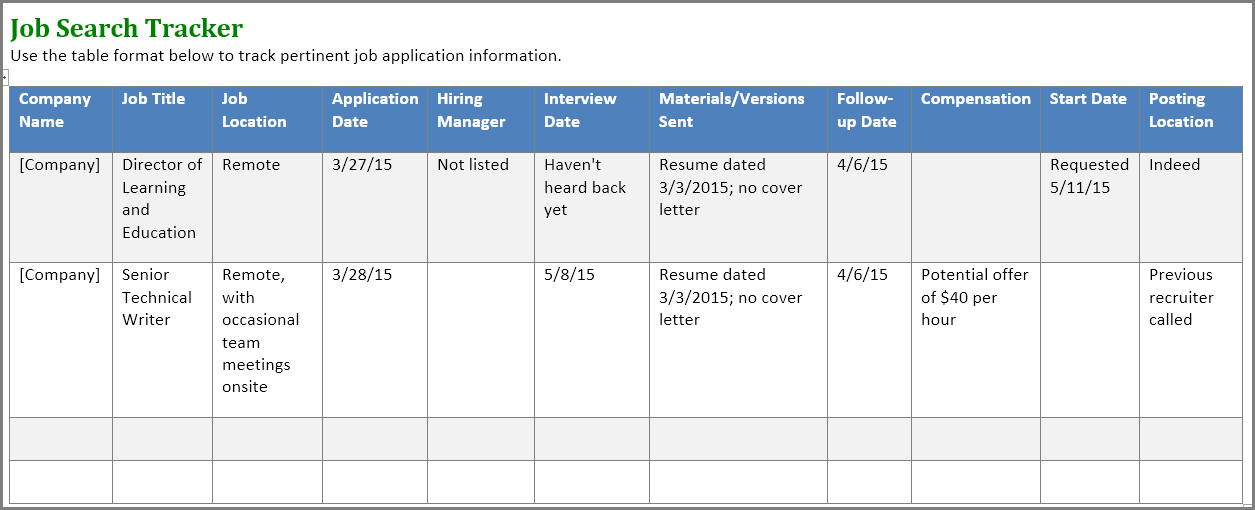 job application spreadsheet