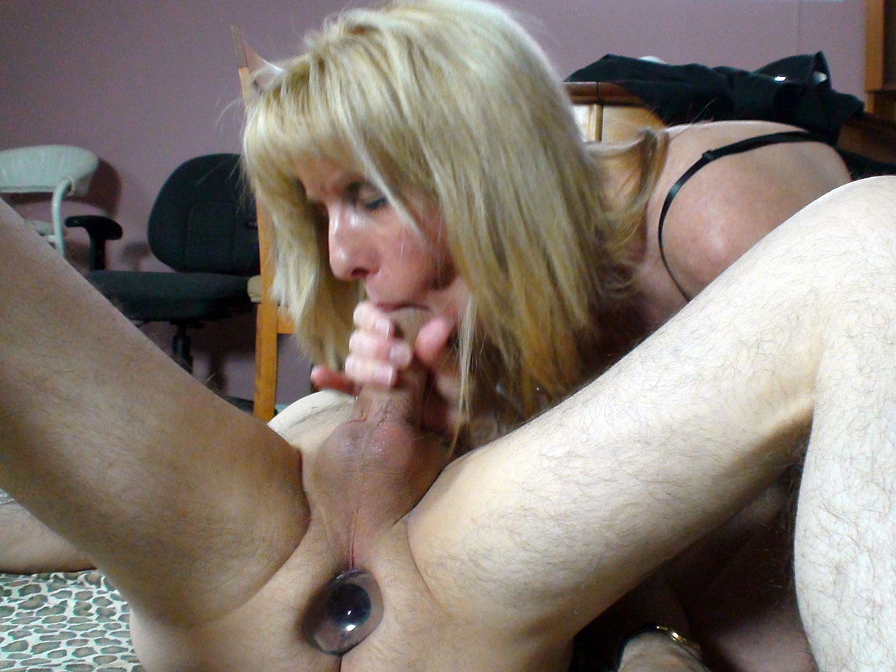 image Blonde milf prostate milking with strapon femdom foot worship and cum play