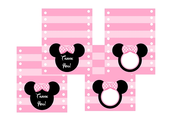 free printable minnie mouse thank you cards