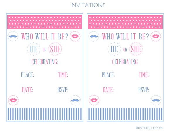 Free Gender Reveal Baby Shower Party Printables From