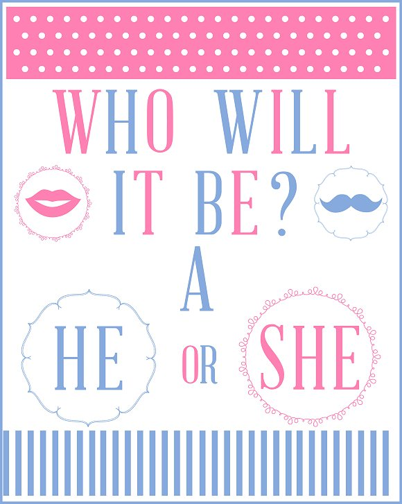 FREE Gender Reveal Baby Shower Party Printables from Printabelle - invitation to a party