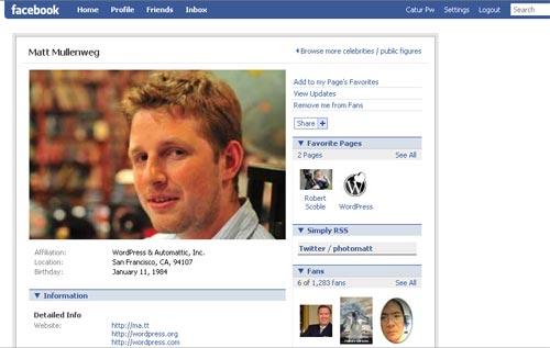 Matt Mullenweg facebook fans page