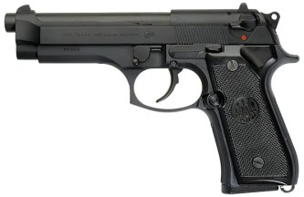 Black Beretta 92FS, barrel pointed to the left, on a white background